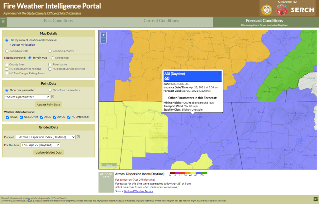 A screenshot of the Fire Weather Intelligence Portal showing Fire Weather Zone forecasts of daytime ADI for northern Alabama, with values in the 60-100 range