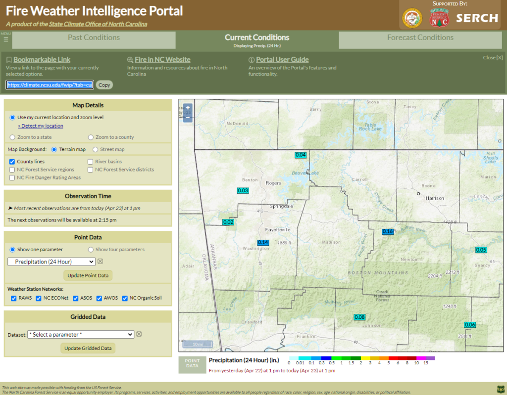 A screenshot of the Fire Weather Intelligence Portal showing 24-hour precipitation totals across northwestern Arkansas, with the bookmarkable link highlighted