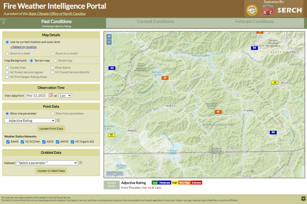 A screenshot of the Fire Weather Intelligence Portal showing Adjective Rating in western North Carolina