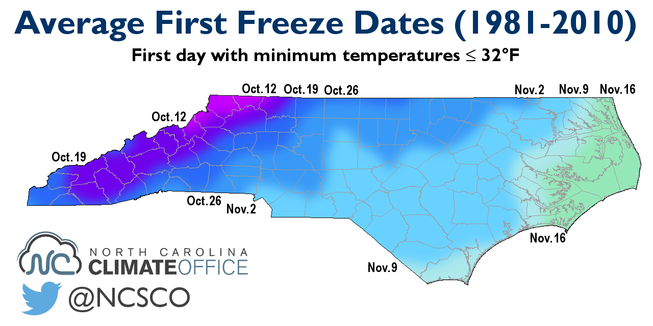 Average First Freeze Dates (click to enlarge)