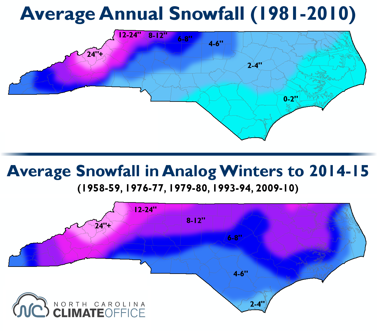 The SCOfficial Winter Outlook State Climate Office Of - Average annual snowfall map us