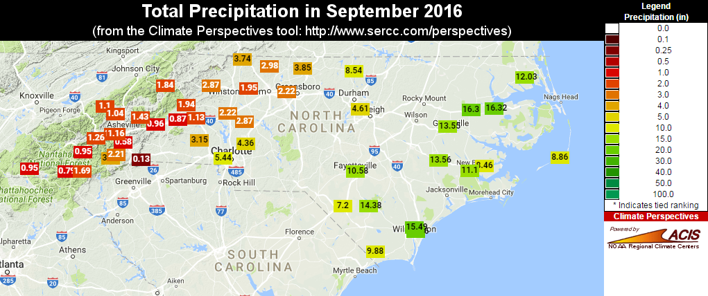 Total Precipitation In September 2016 Retrieved Using The Sercc S Climate Perspectives Tool