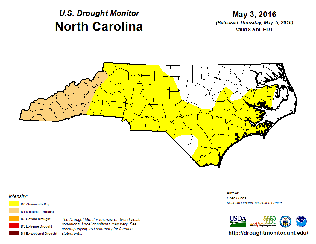Rapid Reaction Drought Returns To NC Mountains State Climate - Us drought map 2016