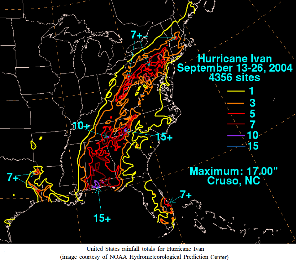 Precipitation From Hurricane Ivan Just Days Later With A 17 Inch Total