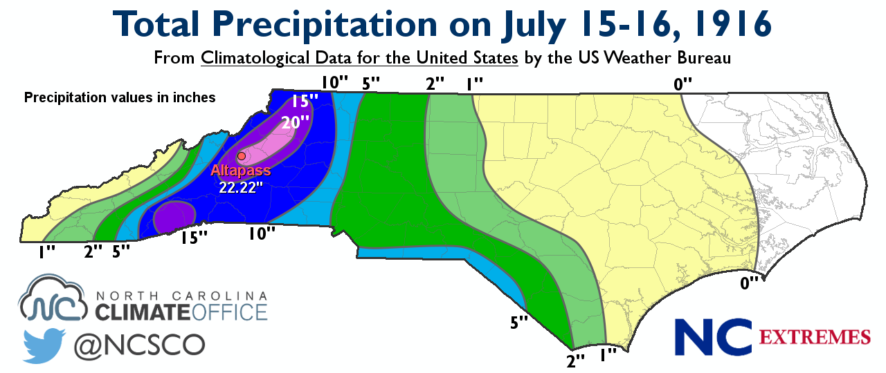 Digitized Re Creation Of A Precipitation Map Found In The July 1916 Report Of Climatological Data For The United States For North Carolina Vol Xxi No