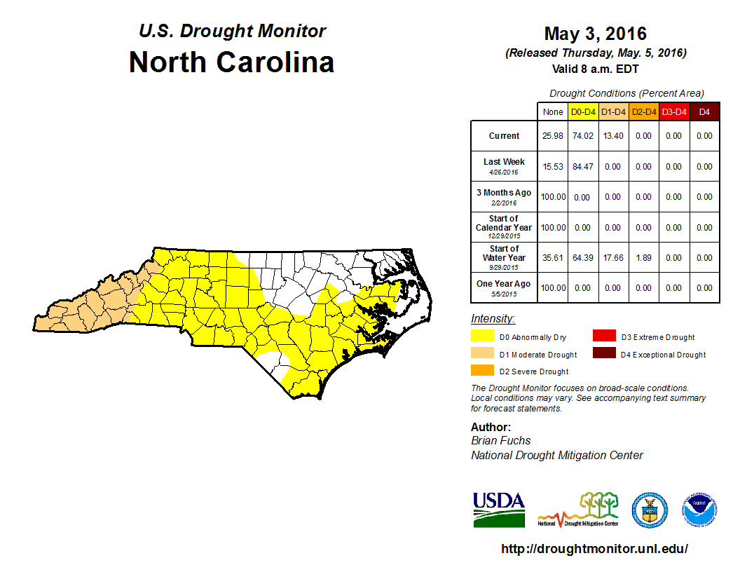Rapid Reaction Drought Intensifies In Western NC State Climate - Us drought map 2016
