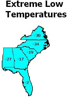 Extreme Low Temps in the Southeast