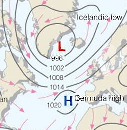 Pressure Systems Affecting the NAO