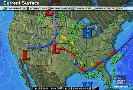Weather map with isobars