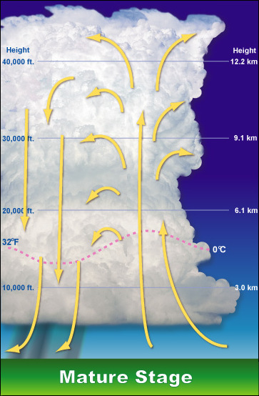 The mature stage of a thunderstorm