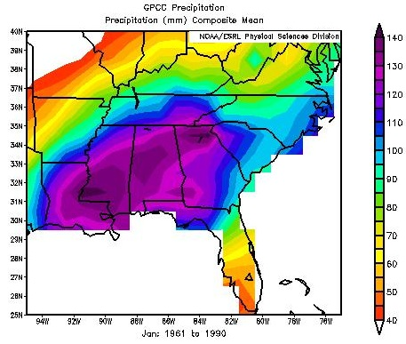 Southeast Average Precipitation