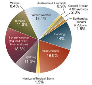 United States Deaths due to extreme weather events