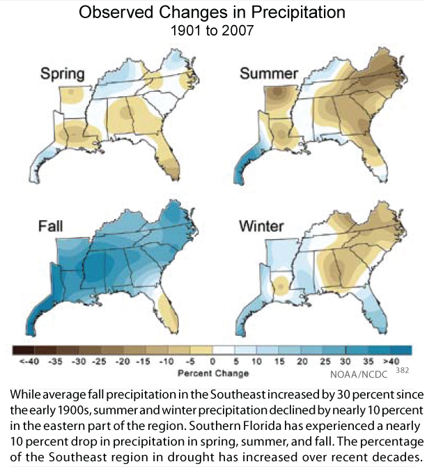Map of changes in precipitation by season.