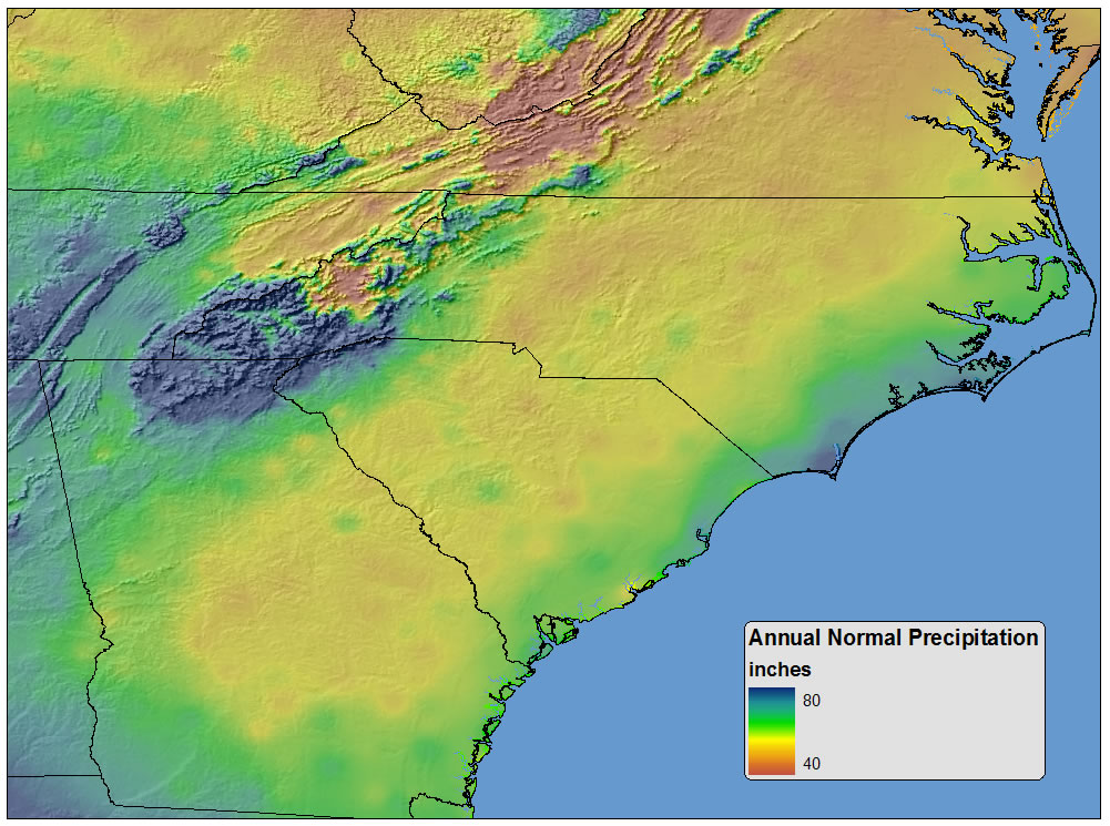 Southeast Precipitation Focusing on Area around Appalachian Mountains.