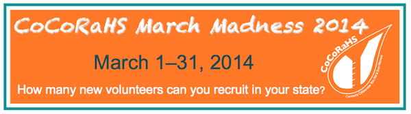 CoCoRaHS March Madness 2014