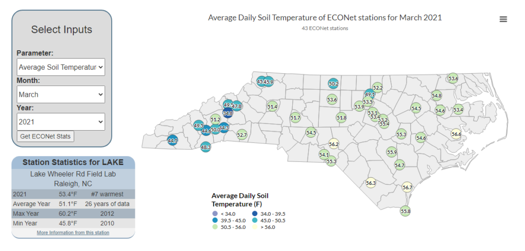 Average soil temperatures from our ECONet in March 2021, from the Monthly Snapshot Viewer.