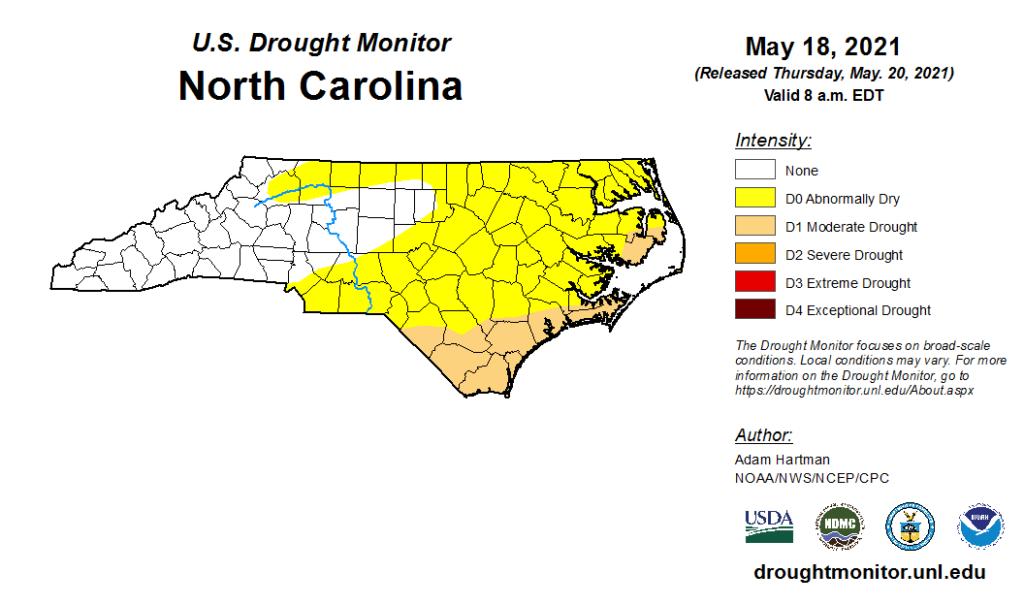 The US Drought Monitor map for North Carolina on May 18, 2021