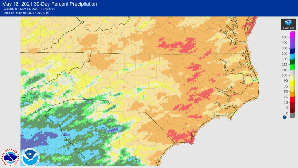 A map of 30-day percent of normal precipitation for North Carolina