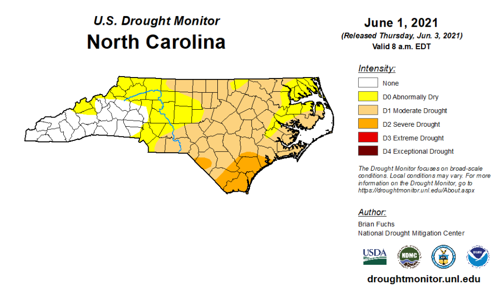 The US Drought Monitor map for North Carolina on June 1, 2021