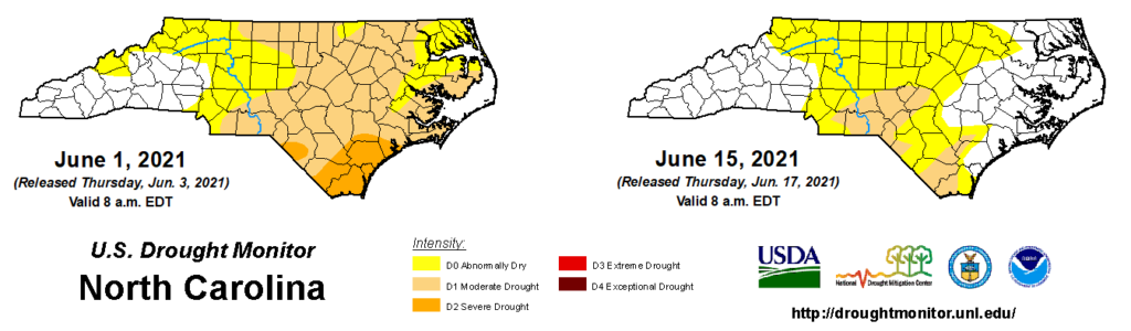 A comparison of drought maps from June 1 and June 15, 2021, in North Carolina