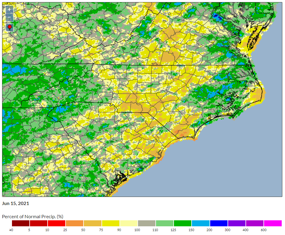 A map of 90-day percent of normal precipitation in the Carolinas.