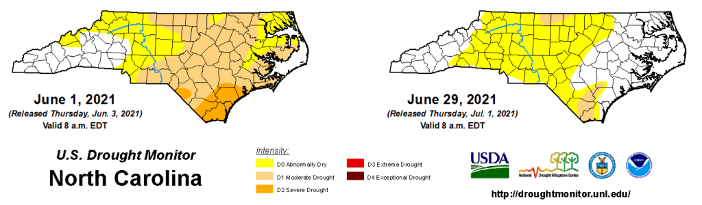 A comparison of drought maps from June 1 and June 29, 2021, in North Carolina