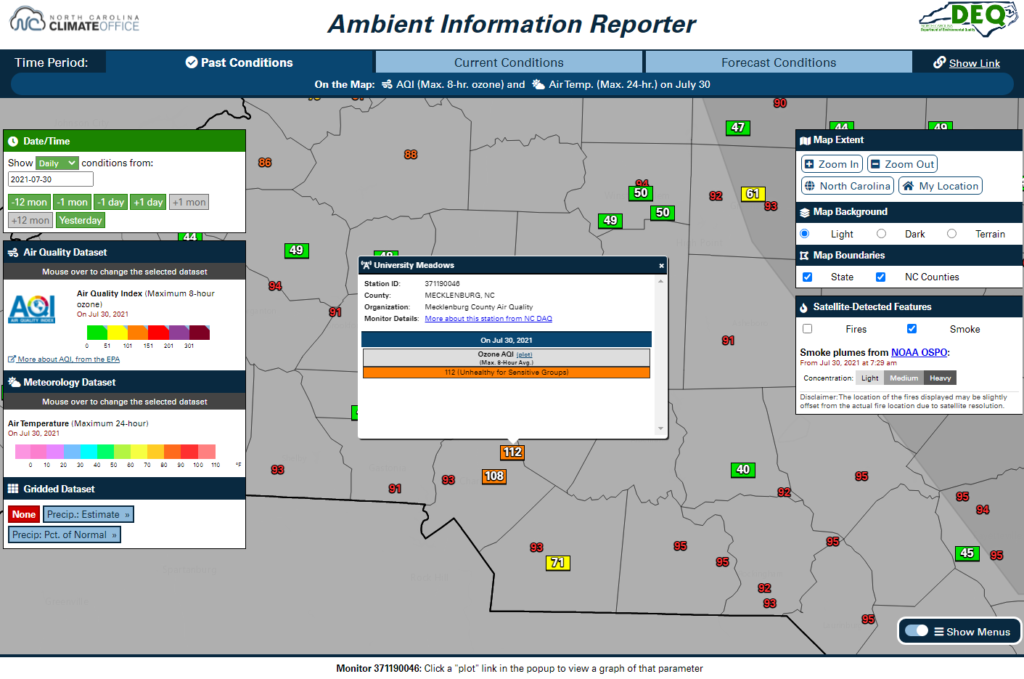 A screenshot of the AIR tool showing the Air Quality Index based on maximum 8-hour ozone concentrations, the daily maximum air temperature, and the satellite-derived smoke analysis for July 30, 2021
