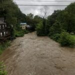 A photo of the swollen Broad River in Bat Cave, NC