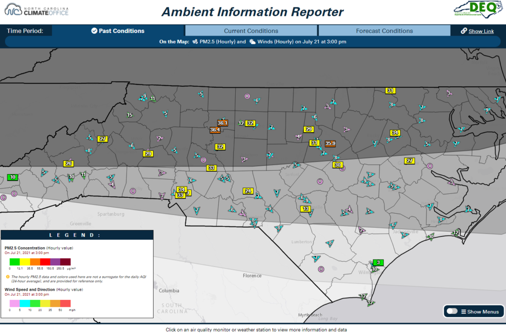 A screenshot of the AIR tool showing hourly PM2.5 concentrations, winds, and a satellite-derived smoke analysis at 3 pm on July 21, 2021