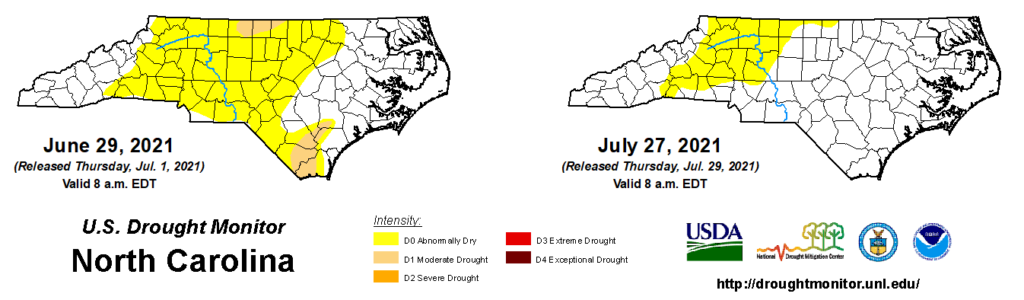 A comparison of drought maps from June 29 and July 27, 2021, in North Carolina