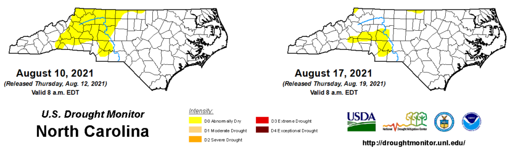 A comparison of drought maps from August 10 and 17, 2021, in North Carolina