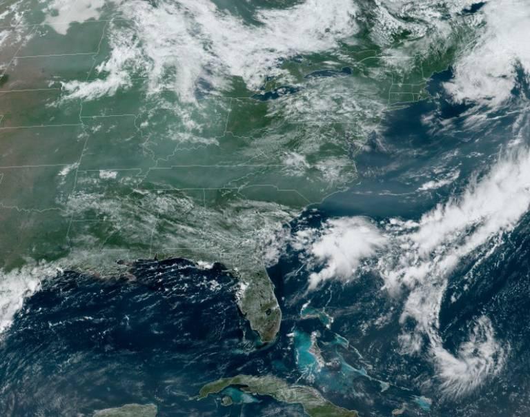 A satellite image showing smoke over North Carolina on June 22