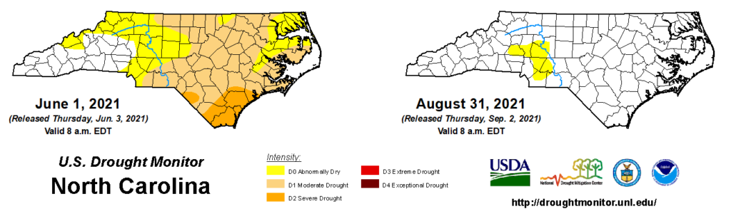 A comparison of drought maps from June 1 and August 31, 2021, in North Carolina