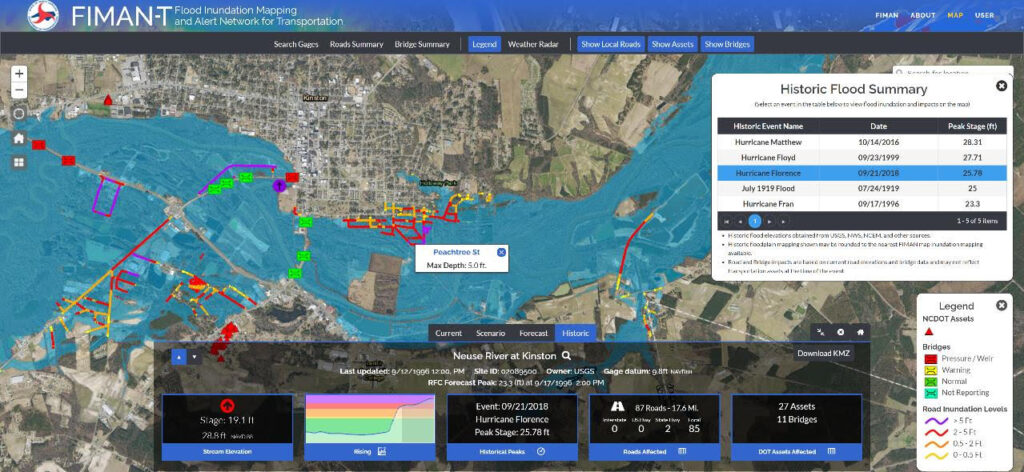 A screenshot of the FIMAN-T tool showing the extent of flooding along the Neuse River in Kinston