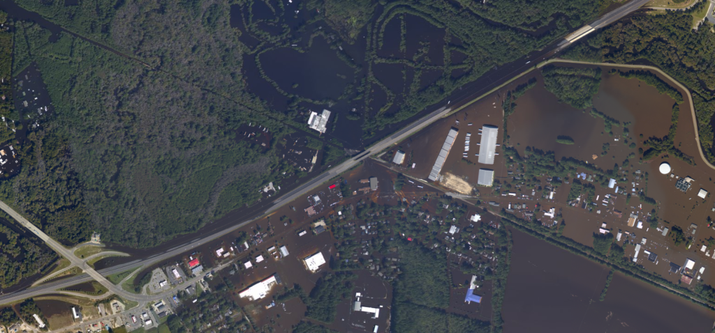 An aerial photo of flooding along Interstate 95 in Lumberton