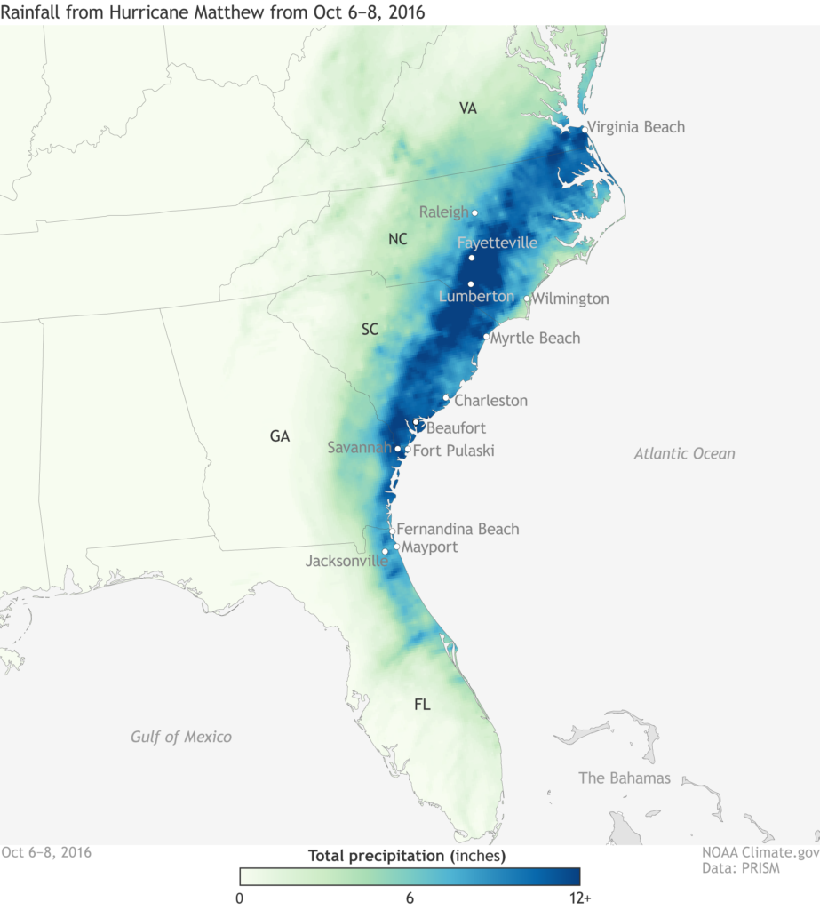 A map of precipitation totals from Hurricane Matthew in the Southeast US