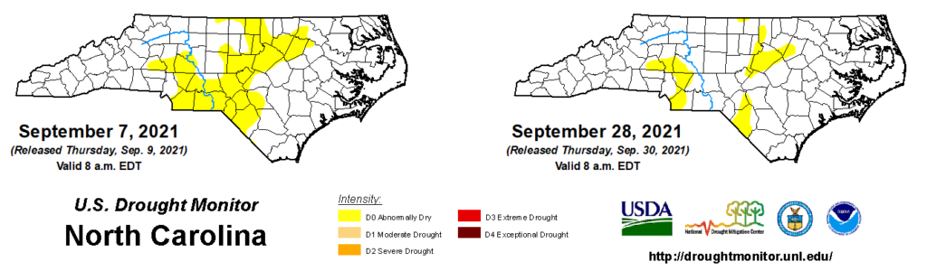 A comparison of drought maps from September 7 and 28, 2021, in North Carolina