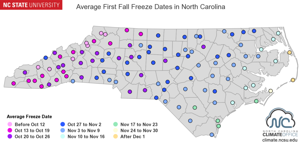 A map of average first fall freeze dates for weather stations across North Carolina.