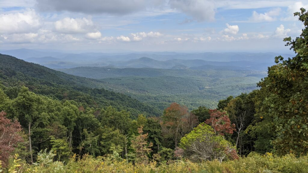 A photo of changing leaf colors in the northern Mountains of North Carolina