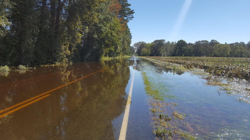 A photo of a flooded road in Bladen County, NC