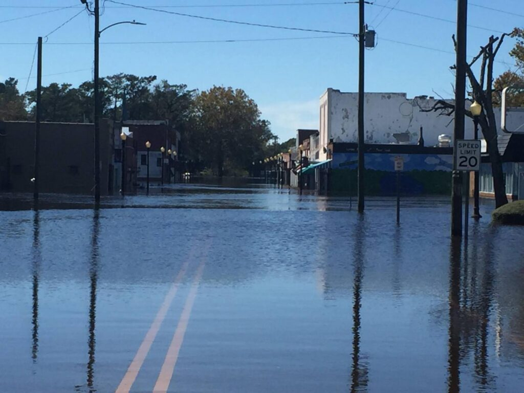 A photo of a flooded road in Fair Bluff, NC