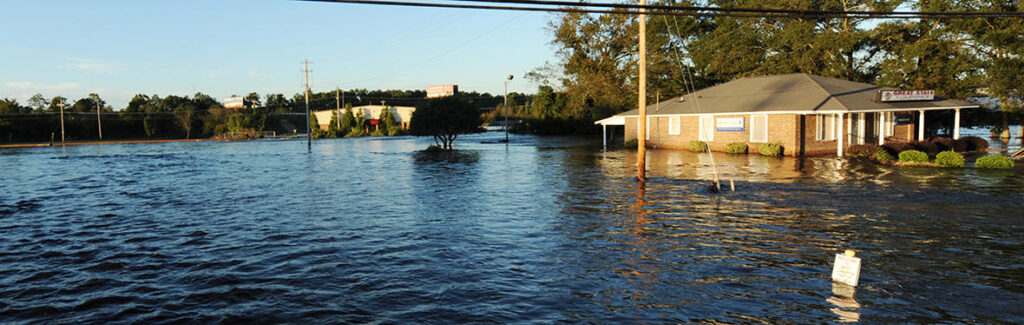 A photo of high flood waters in Lumberton