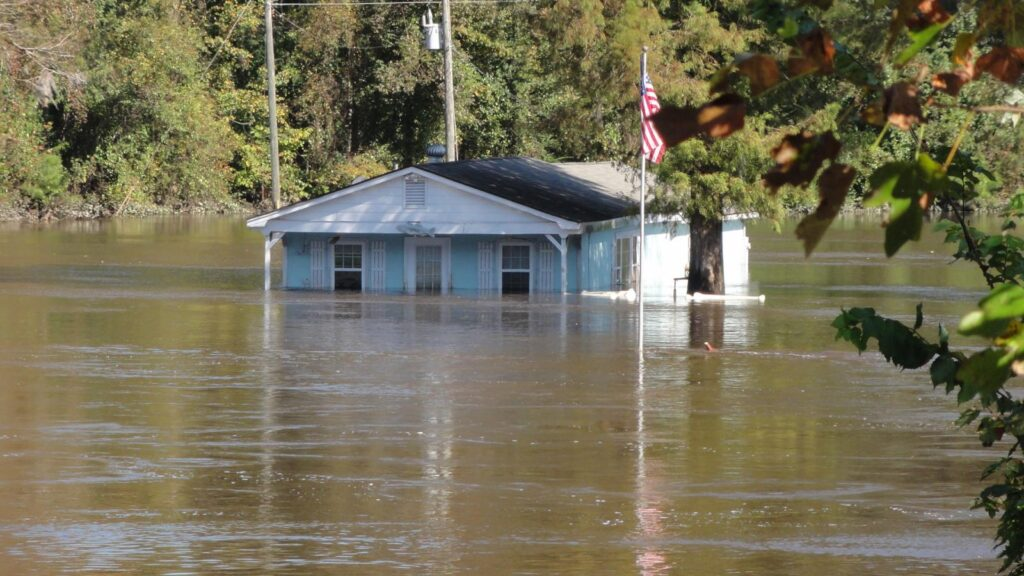 A photo of flooding along the Tar River
